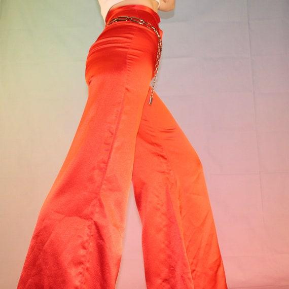 Vintage 70s red satin bell bottoms - image 10