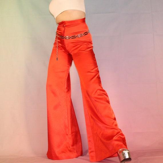 Vintage 70s red satin bell bottoms - image 9