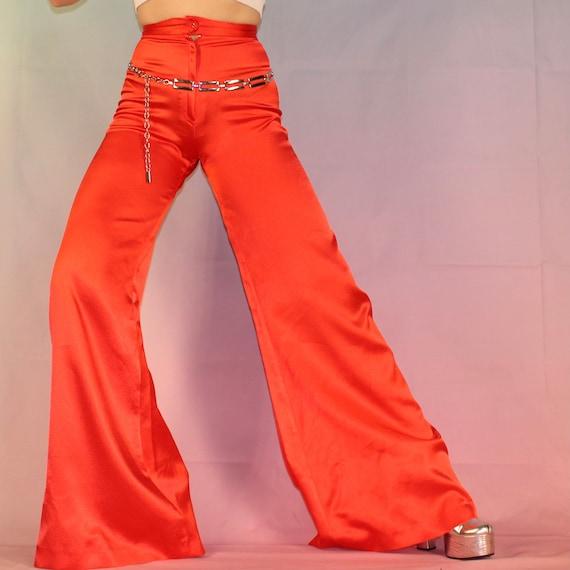 Vintage 70s red satin bell bottoms - image 5