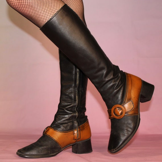 Vintage 60s two tone gogo boots size 8 - image 6