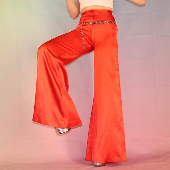 Vintage 70s red satin bell bottoms - image 8