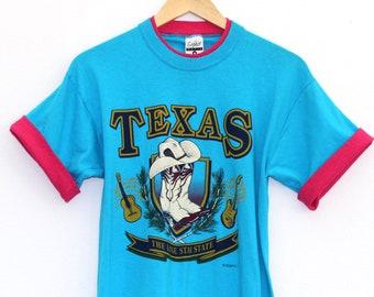 Vintage Texas Double Collar Teal Shirt / Medium / Made in USA