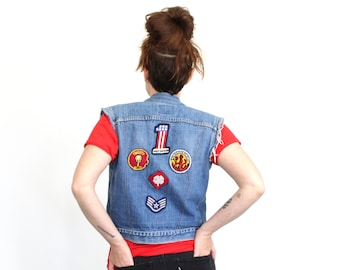 RESERVED *** Vintage Levi's Orange Tab Harley Davidson Denim Patch Vest / Small / Made in USA