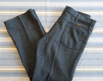 """Vintage Wrangler Polyester """"Dress Jeans"""" / Size 35x30 / Made in USA"""