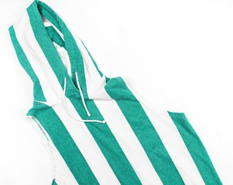 Vintage 80's Green Striped Hooded Sleeveless Shirt / Perfect for Summer!