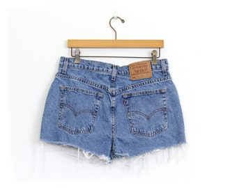 Levi's 506 Size 33 High Waisted Denim Cut Off Jean Shorts