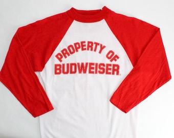 Vintage 80's Property of Budweiser Beer Raglan Baseball Tee Shirt / XS / Made in USA