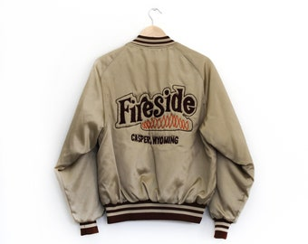 "Vintage Fireside Casper ""Frani"" Gold Baseball Jacket / Large / Gold Embroidered Bomber Jacket"