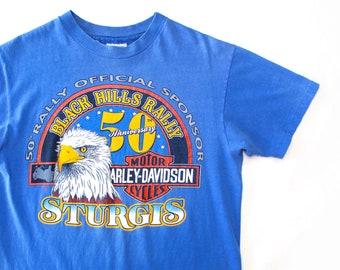 Vintage 90's Harley Davidson Shirt / Sturgis 50th Anniversary Black Hills Rally Eagle Shirt / Medium / Made in USA