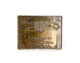 Vintage Budweiser Beer Brass Belt Buckle