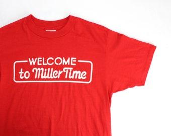 Vintage 90's Miller Time Beer Shirt / Small / Super Soft!