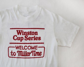 Vintage Winston Cup NASCAR Welcome to Miller Time Beer Shirt / Small / Single Stitch