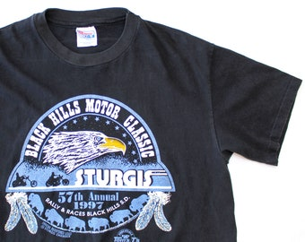 Vintage 90's 57th Annual Sturgis Black Hills Rally 1997 Motorcycle Eagle Shirt / Large / Made in USA