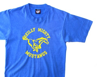 Vintage 80's Reilly Mighty Mustangs Blue Shirt / XS / Made in USA