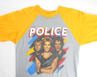 Vintage 80's The Police Synchronicity 1983 Band Tour Raglan Shirt / Medium / Super Rare!