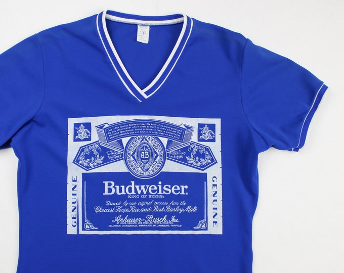 Featured listing image: Vintage 60's Blue Budweiser Beer Jersey Shirt / Made in USA / Super RARE!