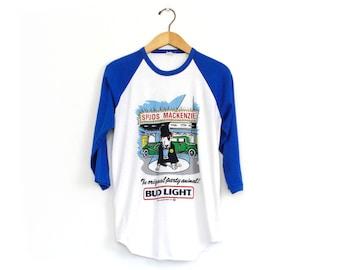Vintage 80's Bud Light Spuds Mackenzie Party Animal Movie Premiere Raglan Baseball Shirt / Medium / Super Rare!