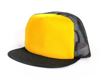 Vintage 80's Blank Yellow & Black Trucker Hat / Made in USA