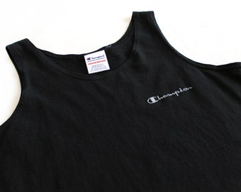 Vintage 80's Champion Solid Black Muscle Shirt Tank / Small / Made in USA