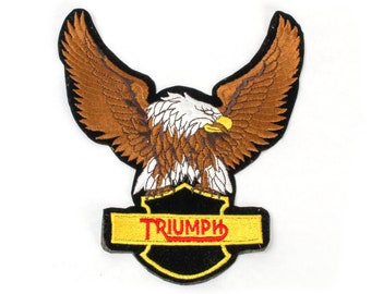 Vintage Triumph Motorcycle Large Eagle Embroidered Back Patch