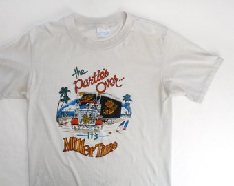 Vintage 80's Miller Beer Spuds Mackenzie Bud Light Parody Shirt / Medium / Single Stitch & Super Soft!