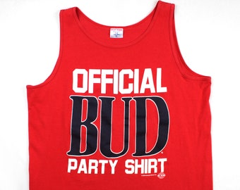 Vintage 80's Official Bud Party Shirt Tank Top / XL / Made in USA