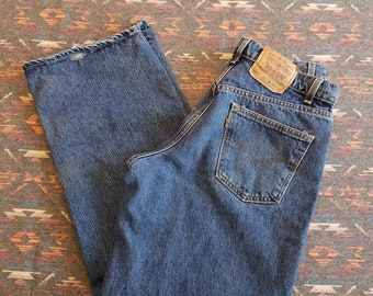Vintage Levi's 567 Orange Tab Blue Jeans / 34 x 30 / Loose Fit / Extra Wide Leg