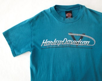 Vintage 90's Harley Davidson Scottsdale Arizona Teal Shirt / Medium / Made in USA