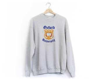 Vintage Embroidered Oxford University Crew Neck Sweatshirt / XL / Oxford University Vintage Pullover Jumper