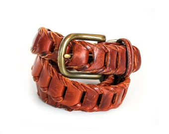 Vintage Woven Brown Leather Belt