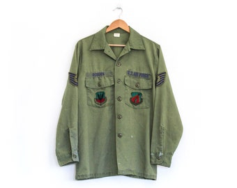 Vintage 80's US Air Force Perfectly Distressed Patch Shirt Jacket / XL