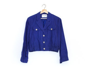 Vintage Women's Blue Linen Crop Jacket / Medium - Large