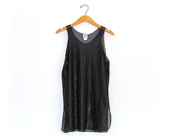 Vintage 90's Black Mesh Swim Cover-Up Tank Top / Small