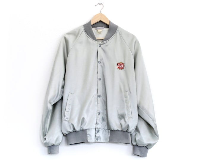 Featured listing image: Vintage Lone Star Beer Silver Bomber Jacket / XL-XXL / Super RARE!