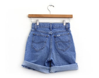 "Vintage 90's Lee Junior's High Waisted Denim Shorts / 24"" Waist / Made in USA"