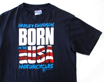 Vintage 80's Harley Davidson Born in the USA Holoubek Shirt / Small / Made in USA