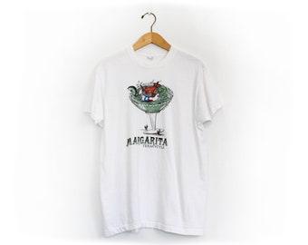Vintage 80's Texas Margarita Drinking Armadillo Shirt / Large / Single Stitch!