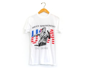 Vintage 80's Bootleg Bruce Springsteen The Boss Born in the USA Band Tour Shirt / Small / Super Soft!