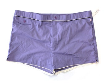 Vintage Deadstock Purple Jantzen Swim Trunks / New with Original Tags Vintage Lined Men's Swim Shorts