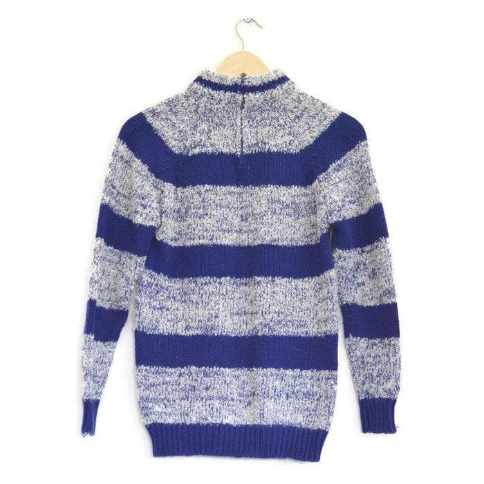 Vintage Blue   White Striped Mock Turtleneck Sweater   Medium   Vintage  Pullover Jumper 748291832