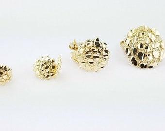 Push Back 11mm Round Nugget CZ Stud Earrings for Men Women 10k Yellow Gold