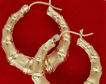 10K Yellow Gold 4 MM Graduated Bamboo Hoop Earrings Diamond Cut 1 Inches/ 25 MM 2.8 Grams