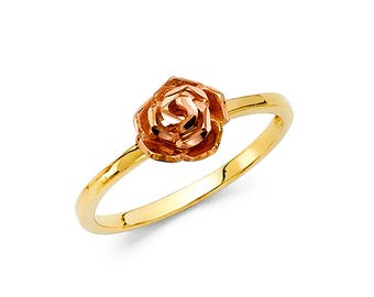 Gold flower ring etsy 14k solid yellow rose gold flower ring cocktail band diamond cut floral style two tone rose flower ring mightylinksfo