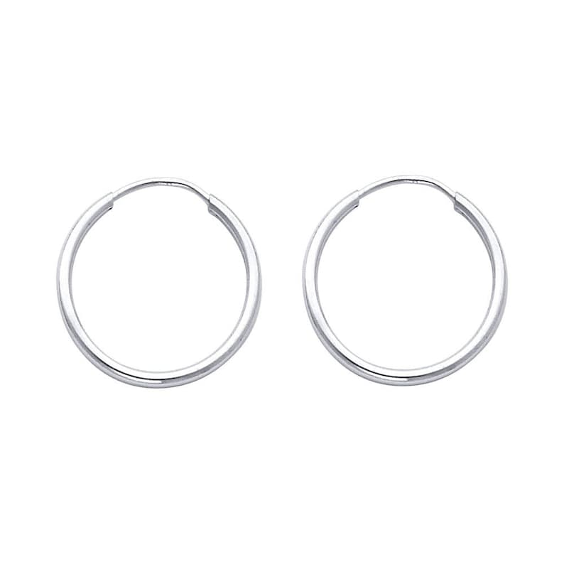 87d7f97399a94 14k Solid White Gold 1.5 MM Thick Lightweight Extra Large Big Classic  Endless Hoop Earrings 0.6 Inches 17MM