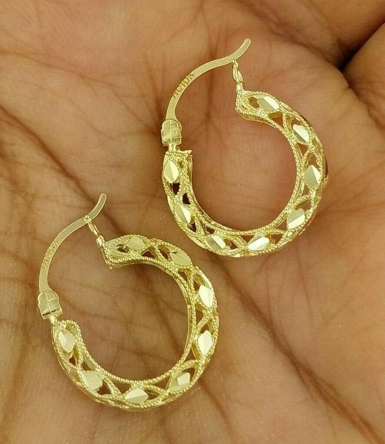 89d663e06bda4 10K Yellow Gold Hoop Earrings 4 MM Thick Round Diamond Cut 17 MM/ 0.7 Inches