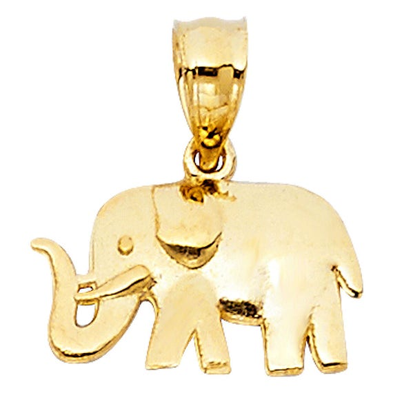 14K Solid Yellow Gold Small Elephant Hollow Charm Pendant