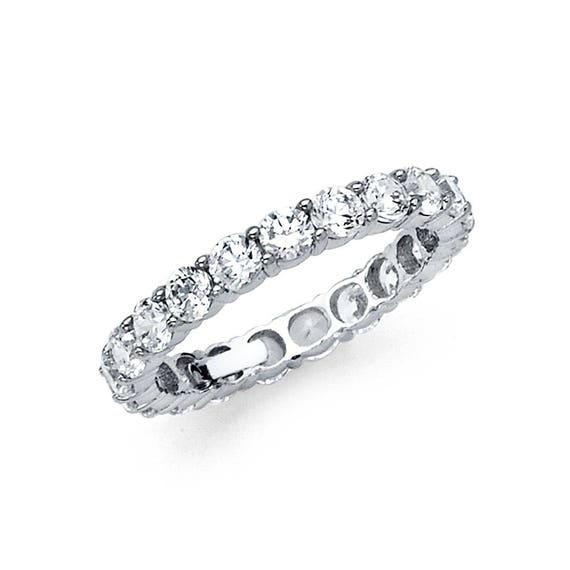 1.00 Ct 14K Real White Gold Round Eternity Endless Wedding Anniversary Ring Band