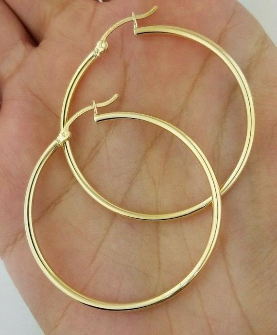10kt Yellow Gold Diamond Cut Hoop Earrings 30mm 3mm thick