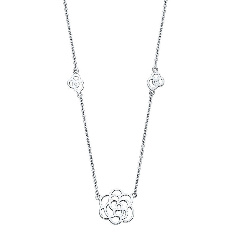14K Solid White Gold Rose Floral flower Three Rose Design Pendant Necklace Chain