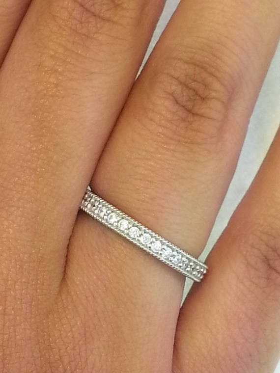 14k White Gold 1 CT Milgrain Eternity Band Stackable Ring Endless Wedding Band